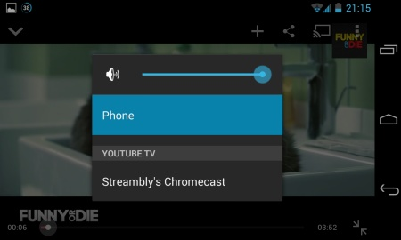 Screenshot of YouTube Chromecast options