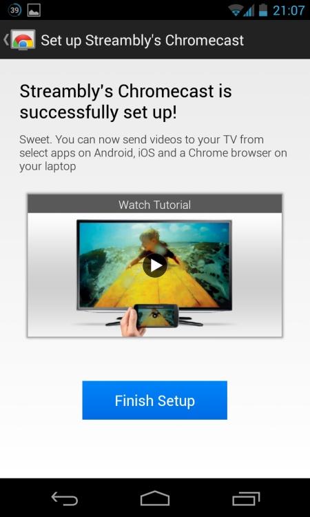 Screenshot of Chromecast Android Setup Completed