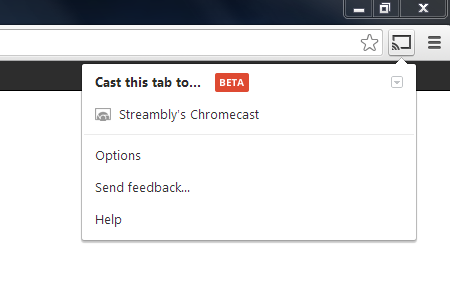 Screenshot of Chrome's Google Cast extension
