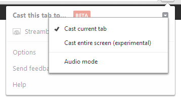 Screenshot of Chrome's Google Cast Settings