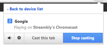 Screenshot of Chrome's Google Cast Casting Status