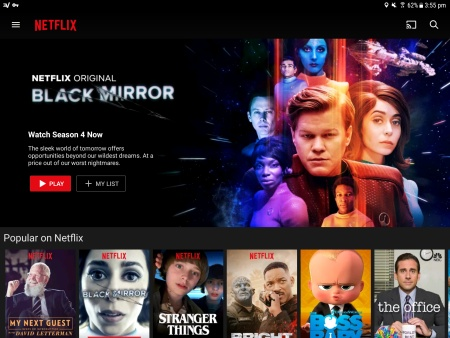A screenshot of the Netflix app showing content from the U.S. version