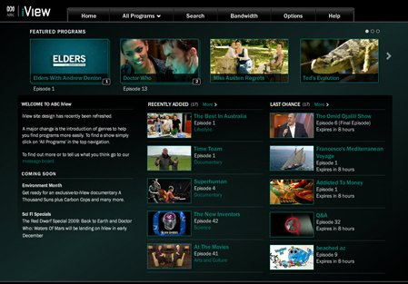 A screen capture of the PS3 ABC iView app