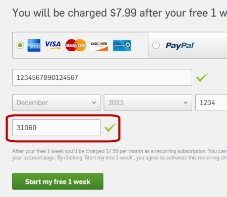 A screen capture of the Hulu Plus Payment Form