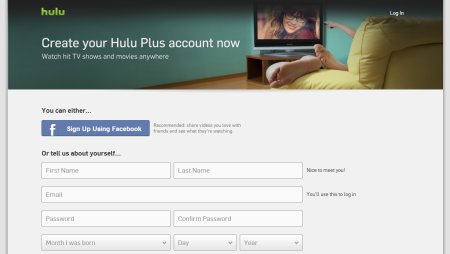 A screen capture of the Hulu Plus Sign Up Form