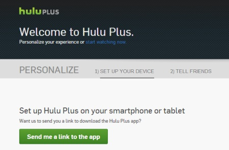 A screen capture of the Hulu Plus sign up success page