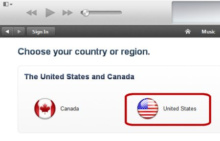 A screen capture of the iTunes Change Country to US option