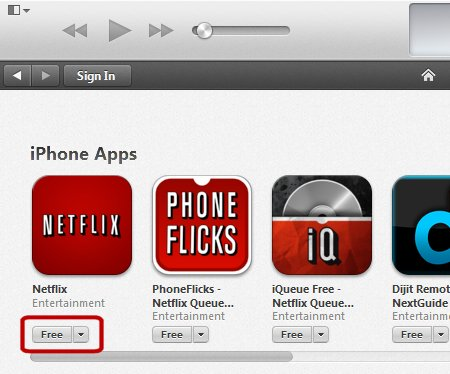 A screen capture showing getting a free app in iTunes' app store