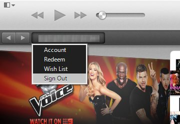 A screen capture of the iTunes Sign Out option