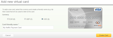 A screen capture of the EntroPay create new virtual card form