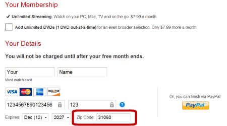 A screen capture of the Netflix Payment Form