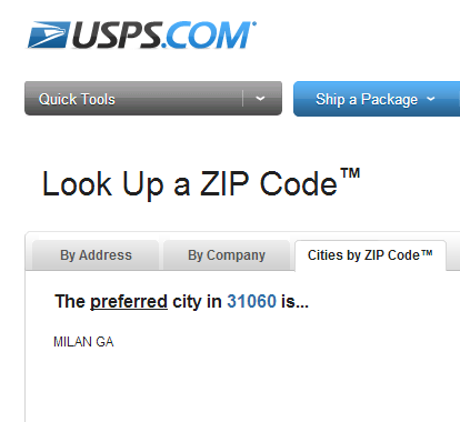 A screen capture of the USPS ZIP code validation results page