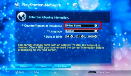 Screen Capture: PS3: PSN Country, Birthday Entry
