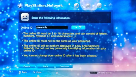 Screen Capture: PS3: PSN Online ID