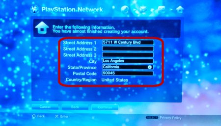Screen Capture: PS3: PSN Address Entry