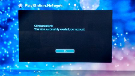 Screen Capture: PS3: PSN Sign Up Completed