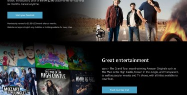 Screenshot of the Amazon Prime Video website