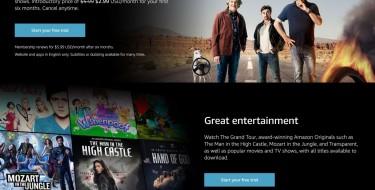 Screenshot of the Amazon Prime Video website