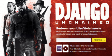 A screenshot of the Django Unchained UltraViolet redemption page