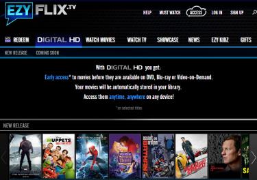 Screenshot of EzyFlix's Digital HD Section