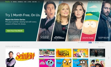 Screenshot of the official Hulu website
