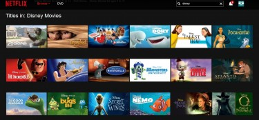 A screenshot of Netflix's website listing available Disney movies