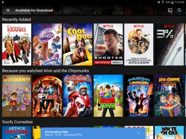 Screenshot showing Netflix's download feature