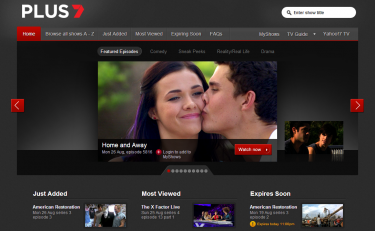 A screenshot of the PLUS7 homepage