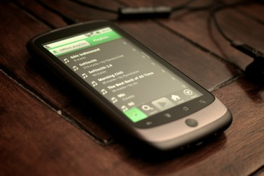 A photo showing Spotify running on an Android smartphone