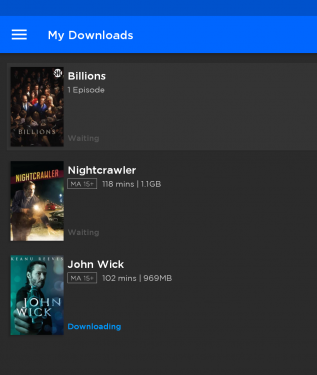 Screenshot of the Stan Android app, showing the download queue