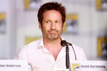 """David Duchovny speaking at the 2013 San Diego Comic Con International, for """"The X-Files"""" 20th Anniversary panel, at the San Diego Convention Center in San Diego, California."""