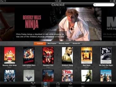 Screenshot of Crackle iPad App