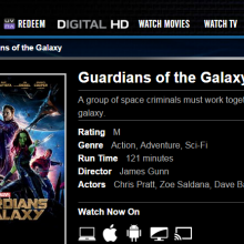 Screenshot of Guardians of the Galaxy listing at EzyFlix