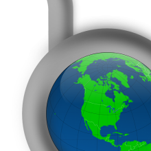 Graphics showing a globe being unlocked
