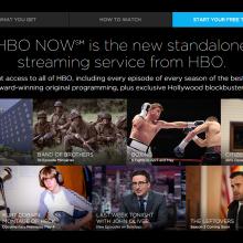 Screenshot of HBO sign up website