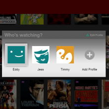 A screenshot showing Netflix Profiles on the PS3 Netflix app