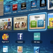 Photo of a Samsung smart TV displaying the Samsung Smart Hub page