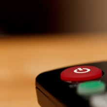 Stock photo of a TV remote control